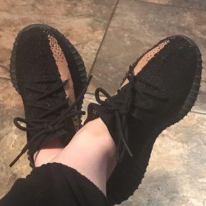 Yeezys 350 black and khaki, women's size 7